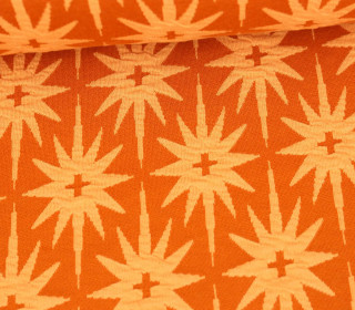 Bio-Jacquard Jersey - 3D Relief - All The Stars - Plain Stitches - Rostorange/Pastellorange - Hamburger Liebe