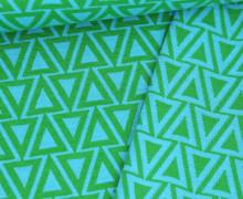 Bio-Jacquard Jersey - Doubleface - Fir Trees - Plain Stitches - Grün/Hellblau - Hamburger Liebe