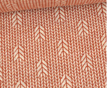 Bio-Elastic Minijacquard Jersey - 3D - Up Knit - Plain Stitches - Warmweiß/Rostorange - Hamburger Liebe