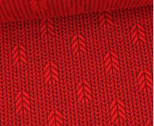 Bio-Elastic Minijacquard Jersey - 3D - Up Knit - Plain Stitches - Rot/Aubergine - Hamburger Liebe