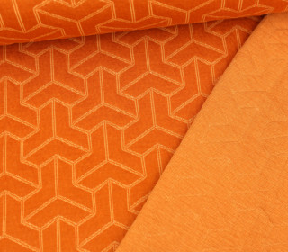 Bio-Jacquard Stepp-Jersey - Doubleface - Brick Step - Plain Stitches - Orange/Creme - Hamburger Liebe