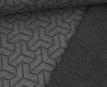 Bio-Jacquard Stepp-Jersey - Doubleface - Brick Step - Plain Stitches - Grau/Schwarz - Hamburger Liebe