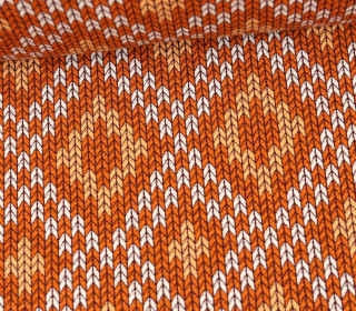 Bio-Elastic Minijacquard Jersey - 3D - Nordic Knit - Plain Stitches - Orange - Hamburger Liebe