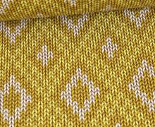 Bio-Elastic Minijacquard Jersey - 3D - Nordic Knit - Plain Stitches - Senfgelb - Hamburger Liebe