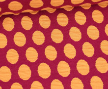 Bio-Jacquard Jersey - 3D Relief - Bubble Dots - Plain Stitches - Dunkelrot/Pastellorange - Hamburger Liebe