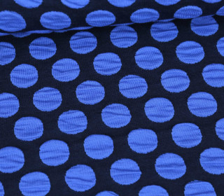 Bio-Jacquard Jersey - 3D Relief - Bubble Dots - Plain Stitches - Schwarzblau/Blau - Hamburger Liebe