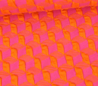 Bio-Elastic Minijacquard Jersey - 3D - Diced Knit - Plain Stitches - Orange/Pink - Hamburger Liebe