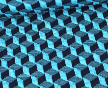Bio-Elastic Minijacquard Jersey - 3D - Diced Knit - Plain Stitches - Schwarzblau/Türkis - Hamburger Liebe