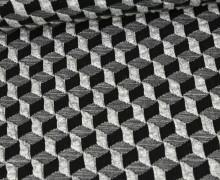 Bio-Elastic Minijacquard Jersey - 3D - Diced Knit - Plain Stitches - Hellgrau/Schwarz - Hamburger Liebe