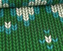 Leichter Bio-Kuschelsweat - Granny Made - XXL Knit - Plain Stitches - Grün - Hamburger Liebe