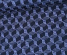 Bio-Elastic Minijacquard Jersey - 3D - Diced Knit - Plain Stitches - Taubenblau/Schwarzblau - Hamburger Liebe