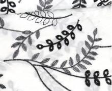 Baumwollstoff - Bunte Lochstickerei - Blumenranken - Weiß