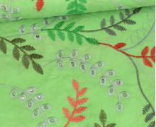 Baumwollstoff - Bunte Lochstickerei - Blumenranken - Gelbgrün