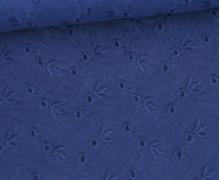 Baumwollstoff - Lochstickerei - Zartes Blütenmuster - Dunkelblau
