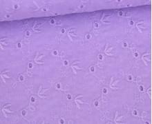 Baumwollstoff - Lochstickerei - Zartes Blütenmuster - Lila