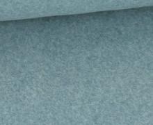 Bio-Baumwoll Fleece - Uni - Melange - Pastelltürkis