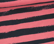 Sommersweat - French Terry - Groovy Stripes - Streifen - Graublau/Altrosa