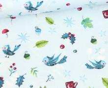 Sommersweat - Bio-Qualität - Waldzauber - Kombistoff - Pastellblau - Wildblume  - abby and me