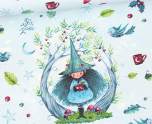 Sommersweat - Bio-Qualität - Waldwichtel - Paneel - Pastellblau - Wildblume  - abby and me