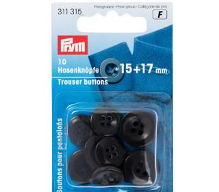 10 Hosenknöpfe - 15 + 17mm - 4-Loch - Prym - Schwarz