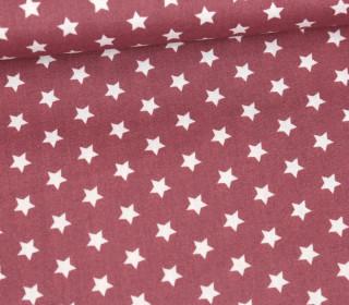 Baumwollstoff - Poplin - Kleine Sterne - Little Stars - Weinrot