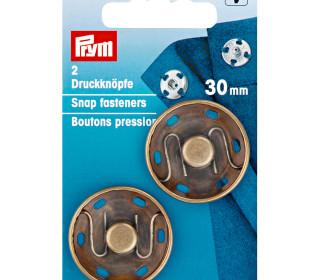 2 Annäh-Druckknöpfe - 30mm - Prym - Altmessing