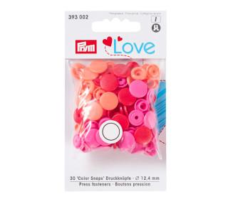 30 Color Snaps Druckknöpfe - Rund - Kunststoff - 12,4mm - Prym Love - Rot