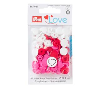 30 Color Snaps Druckknöpfe -Herz - Kunststoff - 12,4mm - Prym Love - Rot/Weiß/Pink