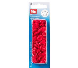 30 Nähfrei Druckknöpfe - Color Snaps - Stern - Kunststoff - Prym - Rot
