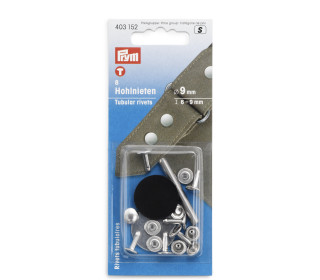 8 Hohlnieten - Messing - 9mm - Stärke 6-9mm - Prym - Silber