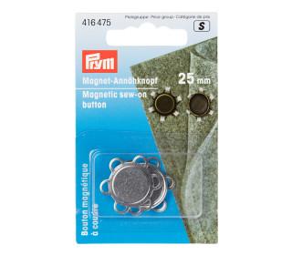 1 Magnet-Annähknopf - Rund - 25mm - Prym - Silber