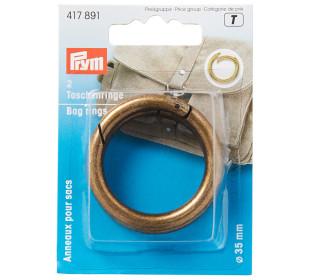 2 Taschenringe - 35mm - Prym - Altmessing