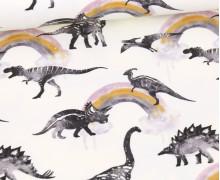 Sommersweat - Ecru - Bio Qualität - Dino Collection - Dinos - Große Regenbögen - abby and me