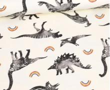 Sommersweat - Ecru - Bio Qualität - Dino Collection - Dinos - Kleine Regenbögen - abby and me
