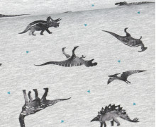 Sommersweat - Dino Collection - Dinos - Kleine Dreiecke - Grau Meliert - abby and me