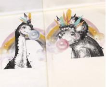 Sommersweat - Ecru - Bio Qualität - Trixie und Sam - Dinosaurier Bubblegum Edition - Paneel - abby and me