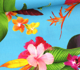 Dekostoff - Dralon - Outdoorstoff - Tropical Flowers - Cyanblau