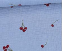 Musselin - Double Gauze - 155g - Cherries - Kirschen - Hellblau