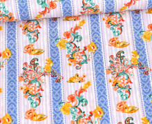 Baumwolle - Webware - Klaranähta - Buntes Paisleymuster & Streifen - Lavendel Pastell