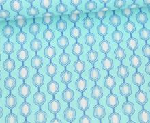 Beschichtete Baumwolle - Klaranähta - Abstraktes Muster - Mint/Blau