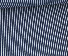Jeans - Jeansstoff - Denim -  Weiße Streifen - Dunkelblau