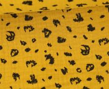 Musselin - Muslin - Double Gauze - Leopardenmuster - Poppy - Senfgelb