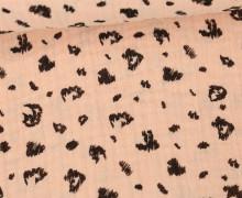 Musselin - Muslin - Double Gauze - Leopardenmuster - Poppy - Apricot Hell
