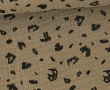 Musselin - Muslin - Double Gauze - Leopardenmuster - Poppy - Beigebraun