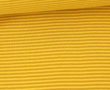 Glattes Bündchen - Streifen - Stripes - 2mm - Schlauchware - Gelb/Ockergelb