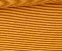 Glattes Bündchen - Streifen - Stripes - 2mm - Schlauchware - Lehmbraun/Maisgelb