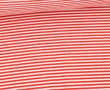 Glattes Bündchen - Streifen - Stripes - 2mm - Schlauchware - Weiß/Rot