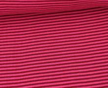 Glattes Bündchen - Streifen - Stripes - 2mm - Schlauchware - Pink/Weinrot