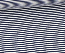 Glattes Bündchen - Streifen - Stripes - 2mm - Schlauchware - Weiß/Stahlblau