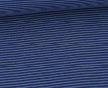 Glattes Bündchen - Streifen - Stripes - 2mm - Schlauchware - Graublau/Dunkelblau